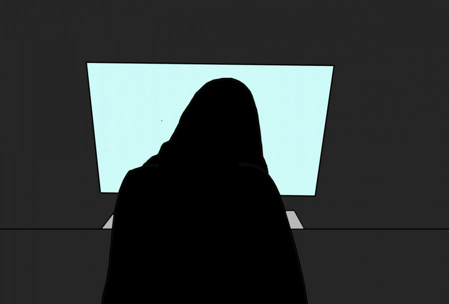 a graphic illustration of a silhouette looking at a screen