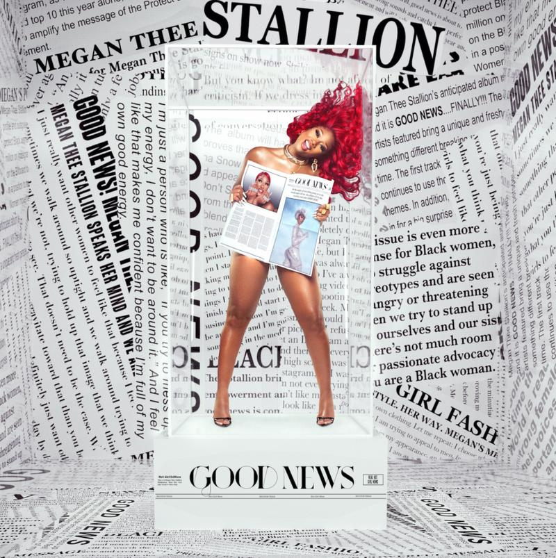 Megan the Stallion appears in a clear box with newspapers filling the background. The box she is standing on says