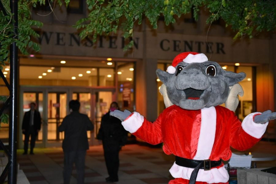 The Ram mascot posing in front of Lowenstein Center