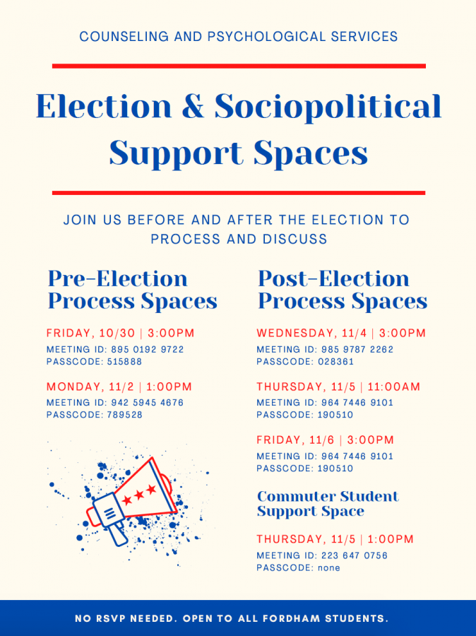 flyer advertising safe spaces for students experiencing election stress