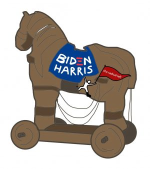 trojan horse with a biden-harris sign on it