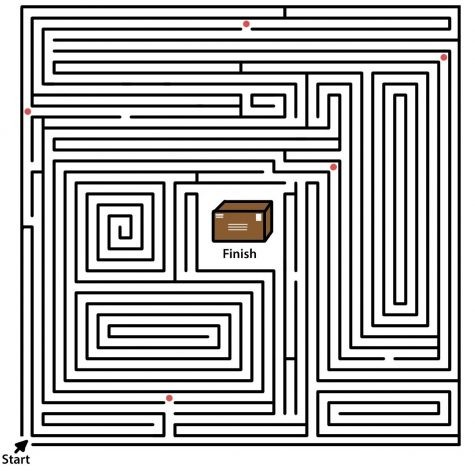 maze with red dots and a box in the center