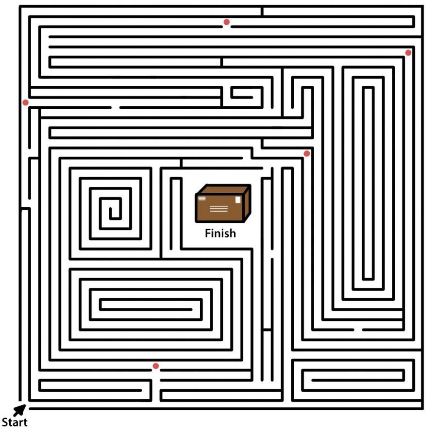 black friday themed maze with red dots and a box in the center