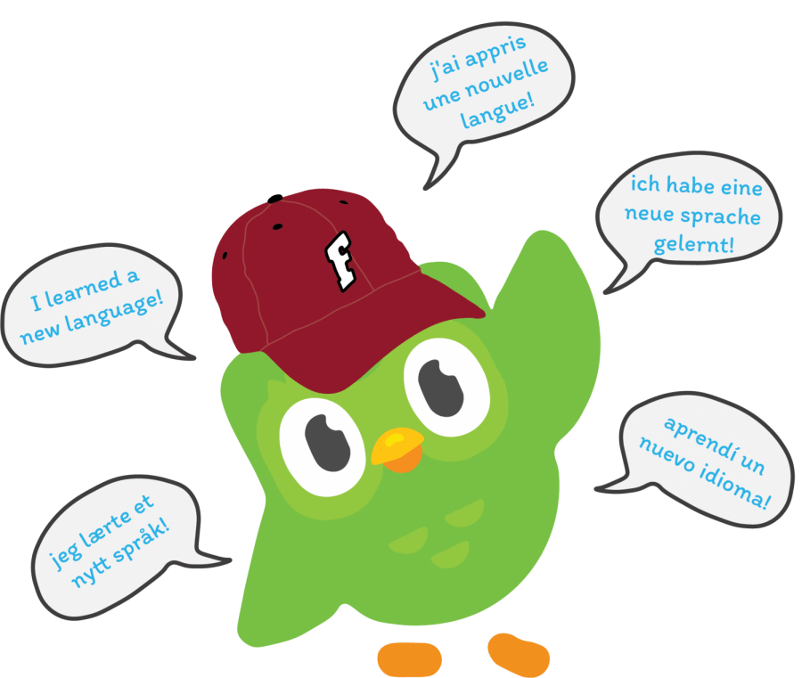 a graphic illustration of the Duolingo owl wearing a Fordham hat saying