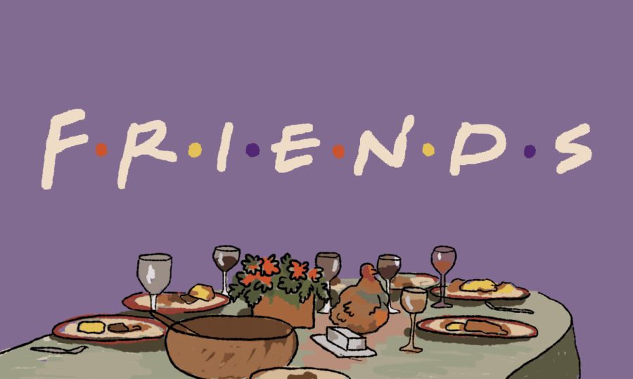 "A purple background is shown with the word ""Friends"" written across it. Below the word ""Friends"", there is a table full of thanksgiving day food."