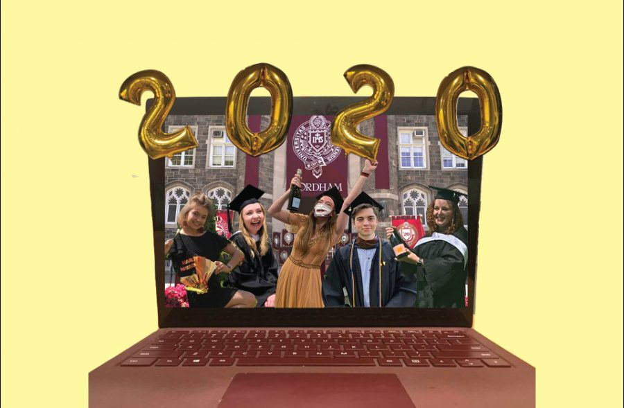 collage of five members of the class of 2020 in front of fordham on a laptop screen, with 2020 balloons on top