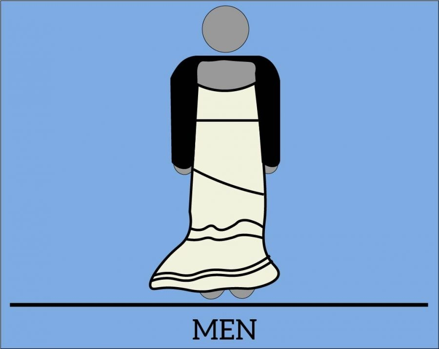 graphic illustration of a man wearing a dress