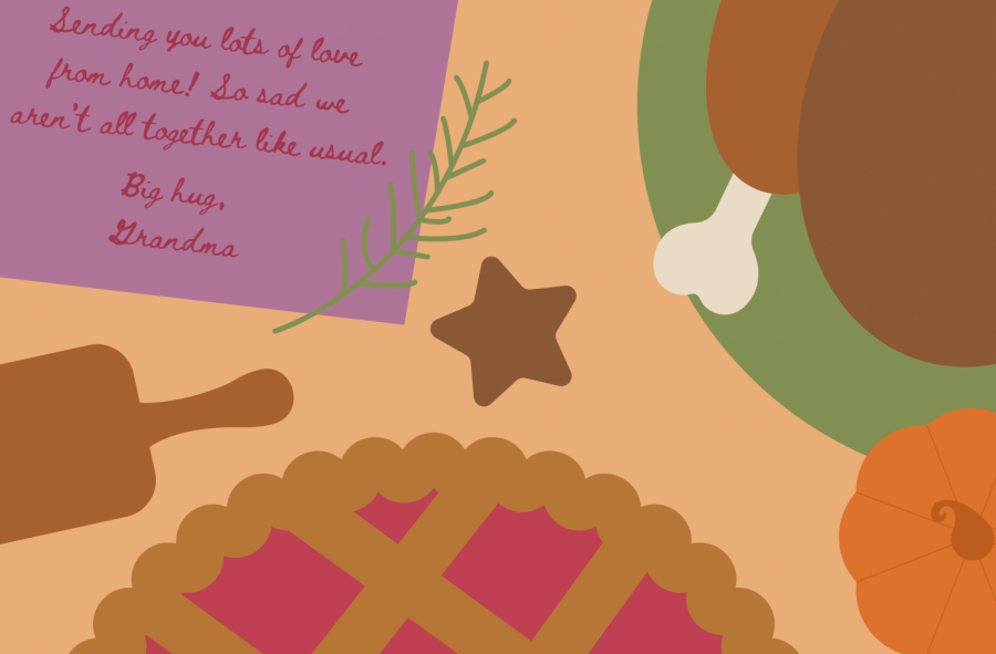 graphic illustration of Apple pie with turkey and rolling pin along with a note from Grandmother