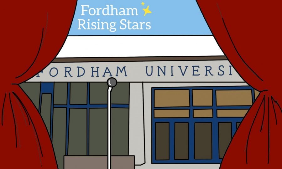 graphic of red theatre curtains pulled back to show the front of fordham's building, with text saying