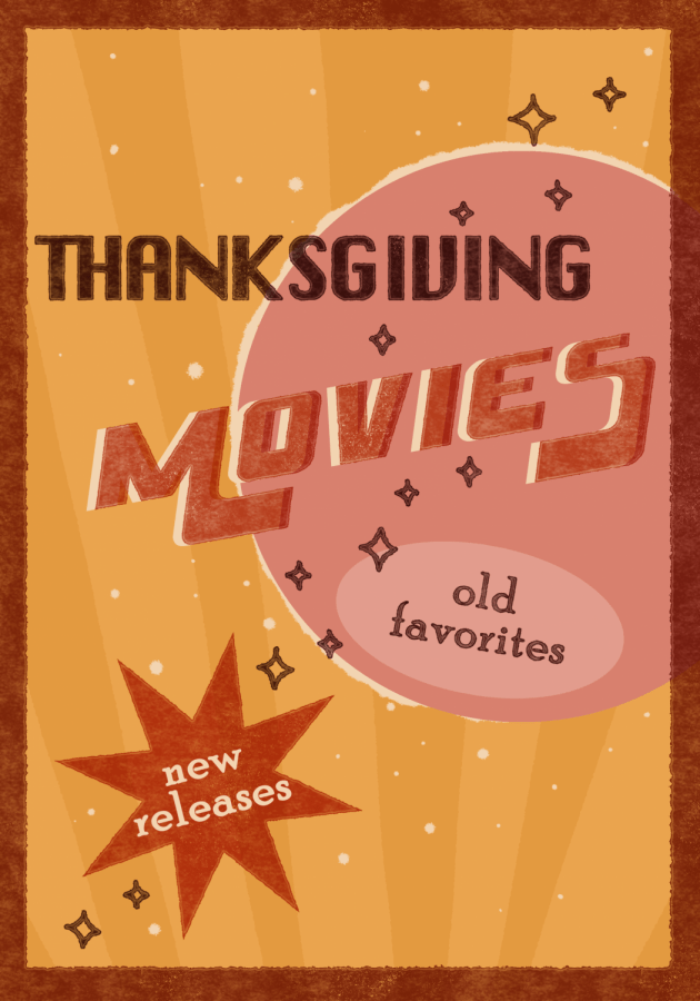 "graphic illustration of a movie poster reading ""Thanksgiving Movies, old releases, new favorites"""