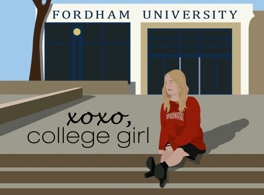 graphic of girl with blonde hair in a red fordham sweatshirt sitting on the steps in front of a building that says fordham university. text in the bottom left corner says