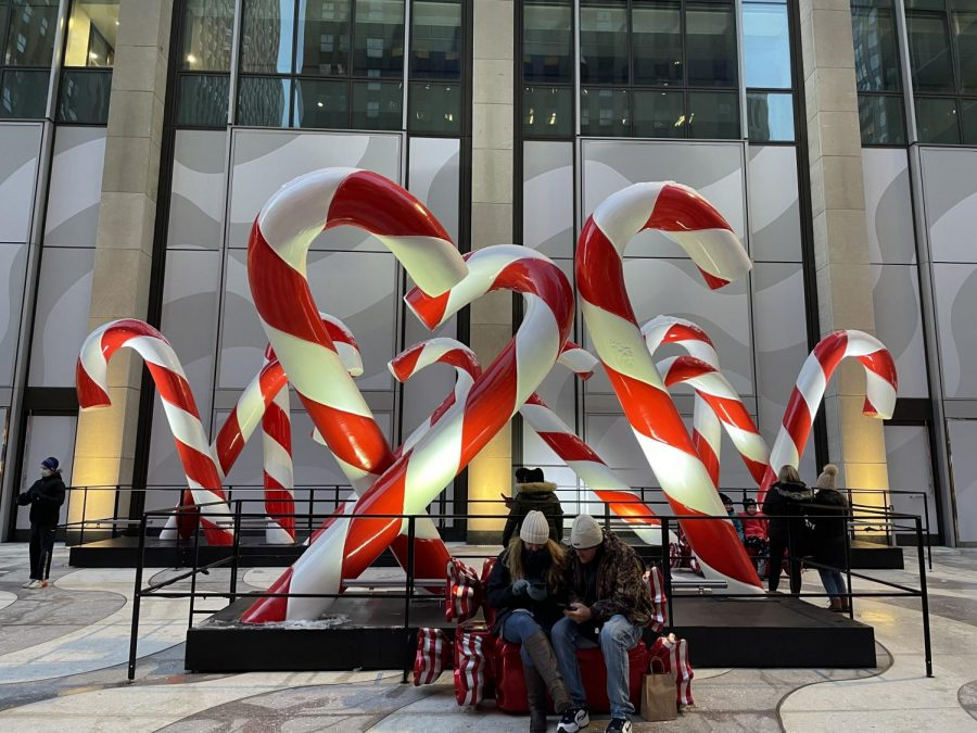 A bundle of massive candy canes bring some holiday spirit to Sixth Avenue.