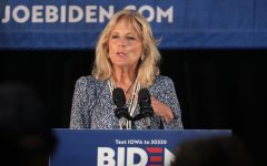 Jill Biden speaking at a podium during her husband's presidential campaign, for an article about the joseph epstein article about her