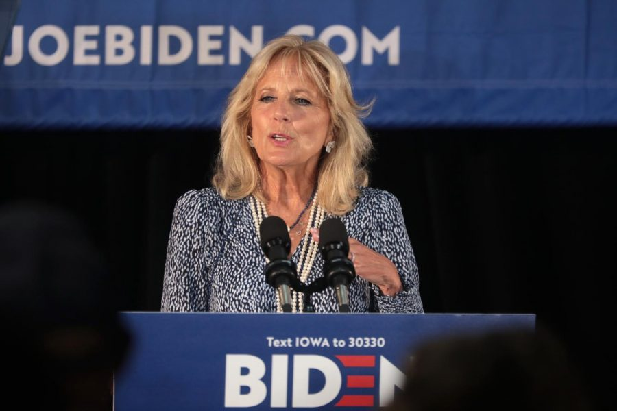 Jill+Biden+speaking+at+a+podium+during+her+husband%27s+presidential+campaign%2C+for+an+article+about+the+joseph+epstein+article+about+her