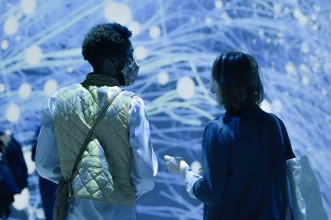 Two people stand in the ARTECHOUSE exhibit