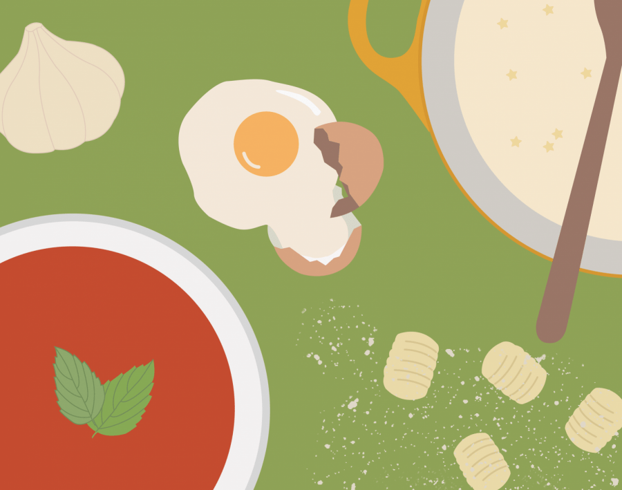 Illustration of Italian food including gnocchi and a cracked egg