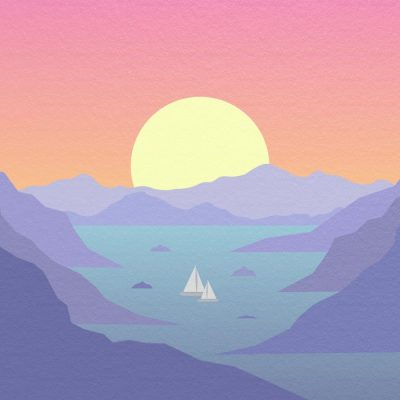 the Horizons album cover, a drawing of the sun setting over a horizon of mountains and a lake