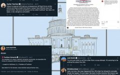 collage of tweets by fordham professors and students laid over a drawing of the capitol building in the background