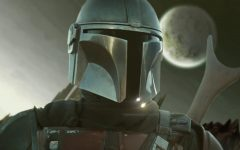 a realistic drawing of The Mandalorian with his rifle over his shoulder and a planet in the sky behind him