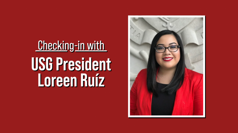 """a headshot of loreen ruiz next to text that says """"checking in with USG president loreen ruiz,"""" all on a maroon background"""