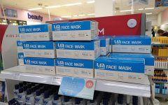 face masks on a shelf in a UK pharmacy