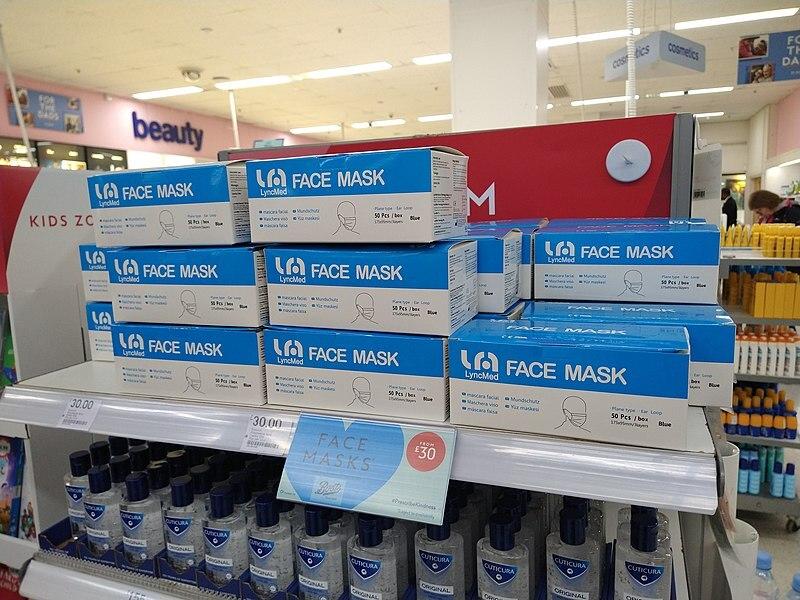 face+masks+on+a+shelf+in+a+UK+pharmacy