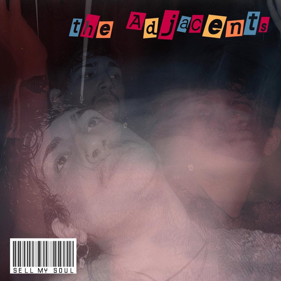 "A black background with a faded photo of Kyan Hijazi. In the top right corner it reads ""the adjacents"" with each black letter inside of its own box. The boxes are in a pattern of blue, red and orange. In the middle of the cover there is a photo of Kyan Hijazi in movement, his head leans to the left side and swings to the left."
