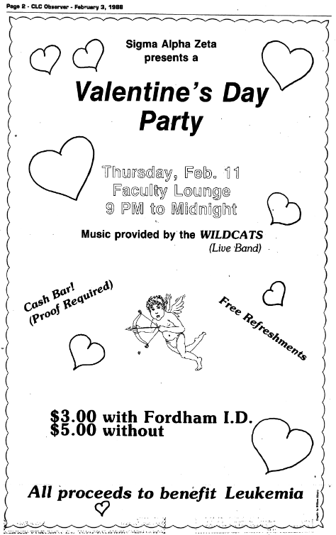 archive ad for a Valentine's Day party at Fordham