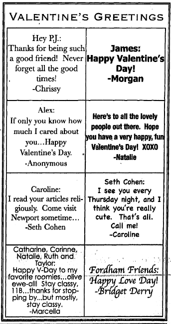 Valentine's messages from a 2005 issue of The Observer