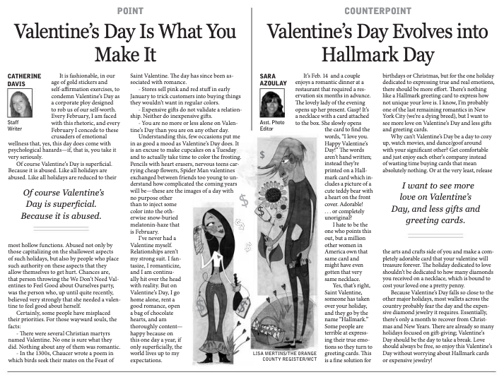 point-counterpoint editorials about Valentine's Day