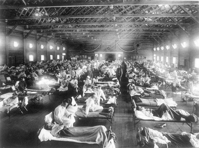photo of a us army ward during the spanish flu pandemic