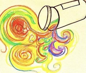 a drawing of an antidepressants pill bottle with colored swirls pouring out of it
