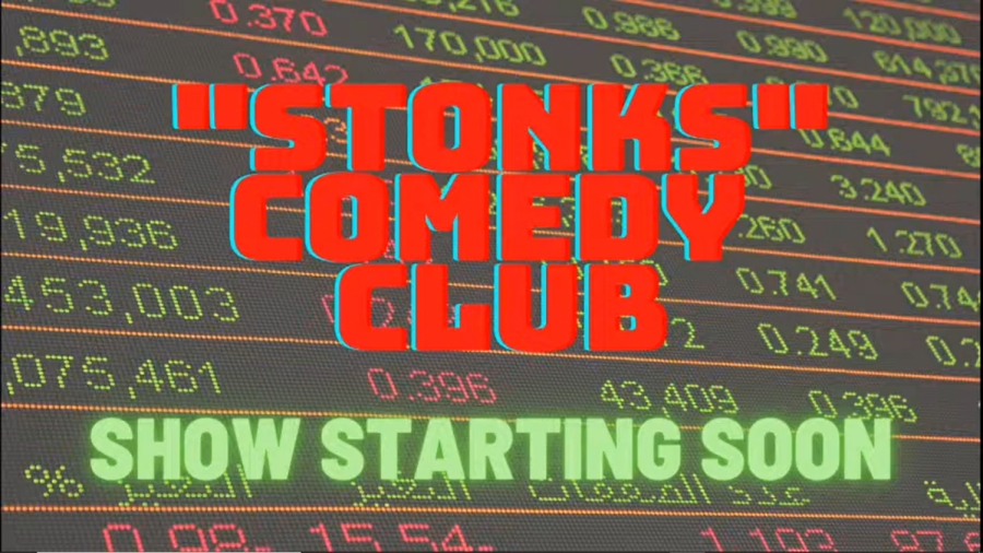 title screen for Stoves show titled Stonks Comedy Club