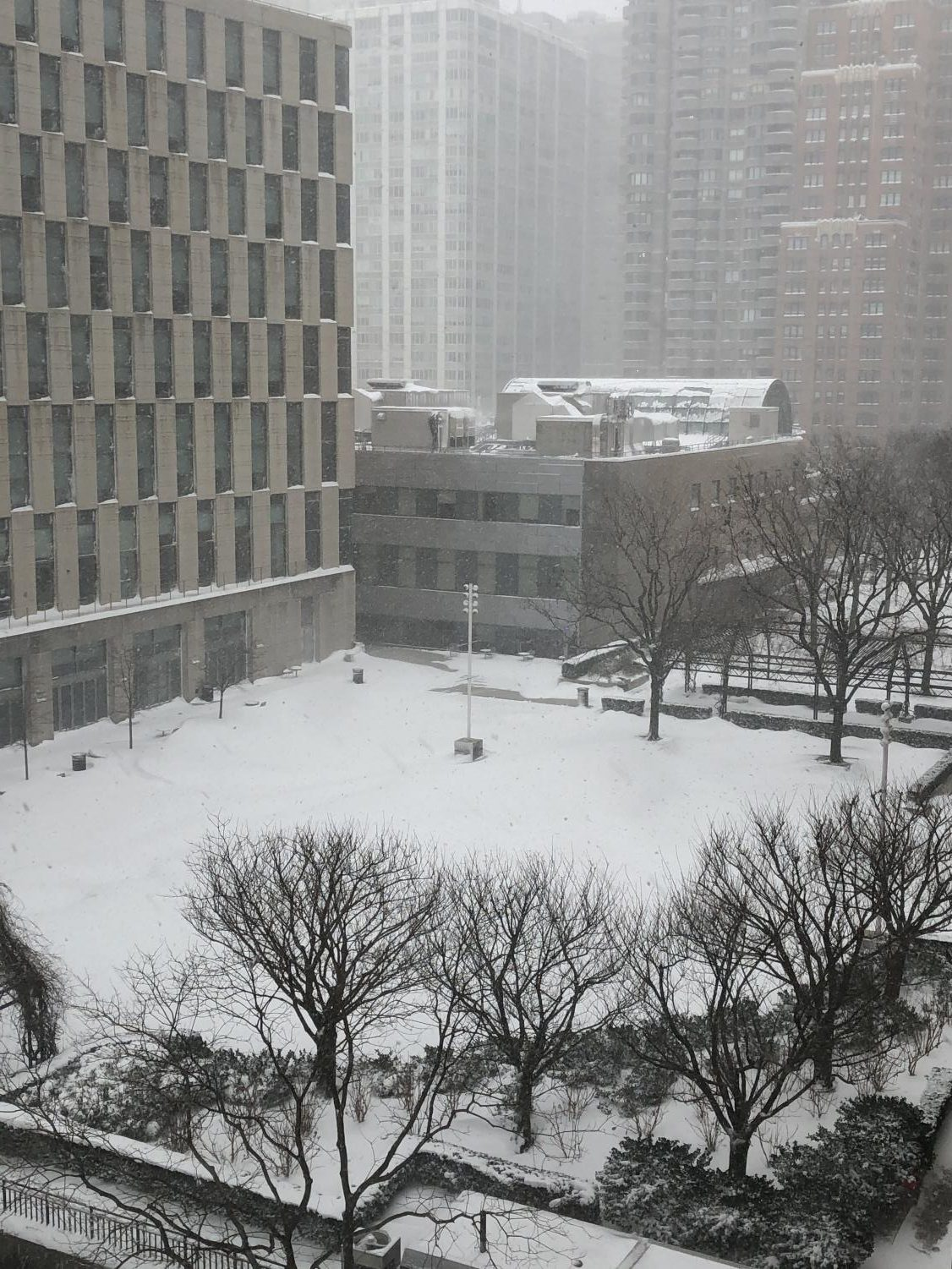 the Outdoor Plaza at Fordham Lincoln Center as viewed from McMahon Hall