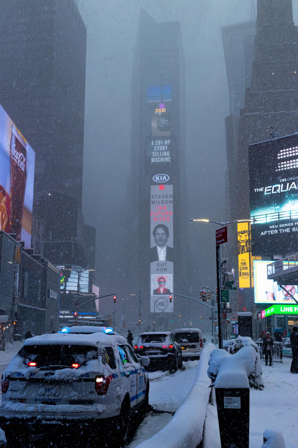 One Times Square with heavy snow fall obscuring the view