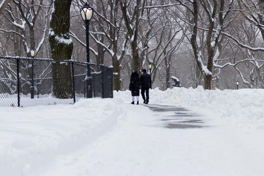 a couple walks down a snowy sidewalk in a NYC park after the snowstorm