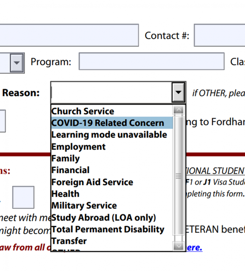 screenshot of webpage where student can request a medical leave of absence from fordham