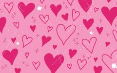 hearts on a pink background, one of three valentines day zoom backgrounds