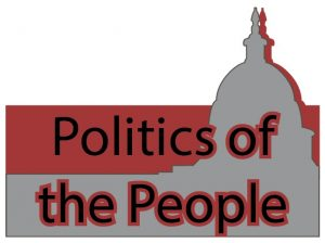 "silhouette of the capitol building in grey and maroon with the title of stevie cortez's column, ""politics of the people"""
