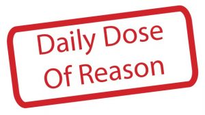 """red rectangle with the title of evelyn sims' column, """"daily dose of reason"""""""