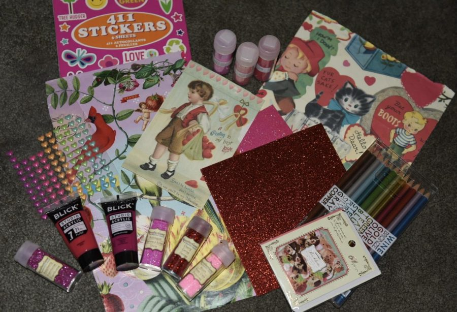 photo of pink and red craft supplies for an article about valentine activities