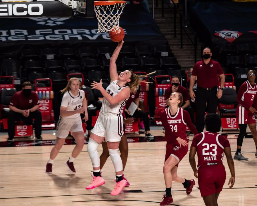 kaitlyn downey making a basket in the a10 Tournament game against UMass