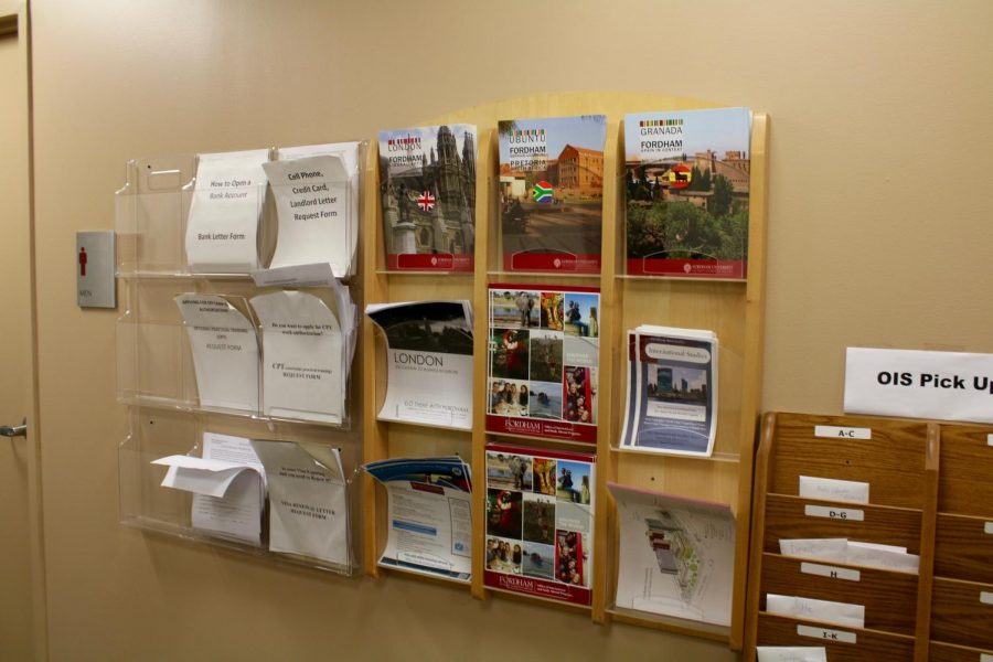 photo of pamphlets in study abroad office
