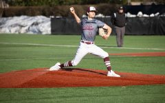 gabe karslo pitching at the game against sacred heart