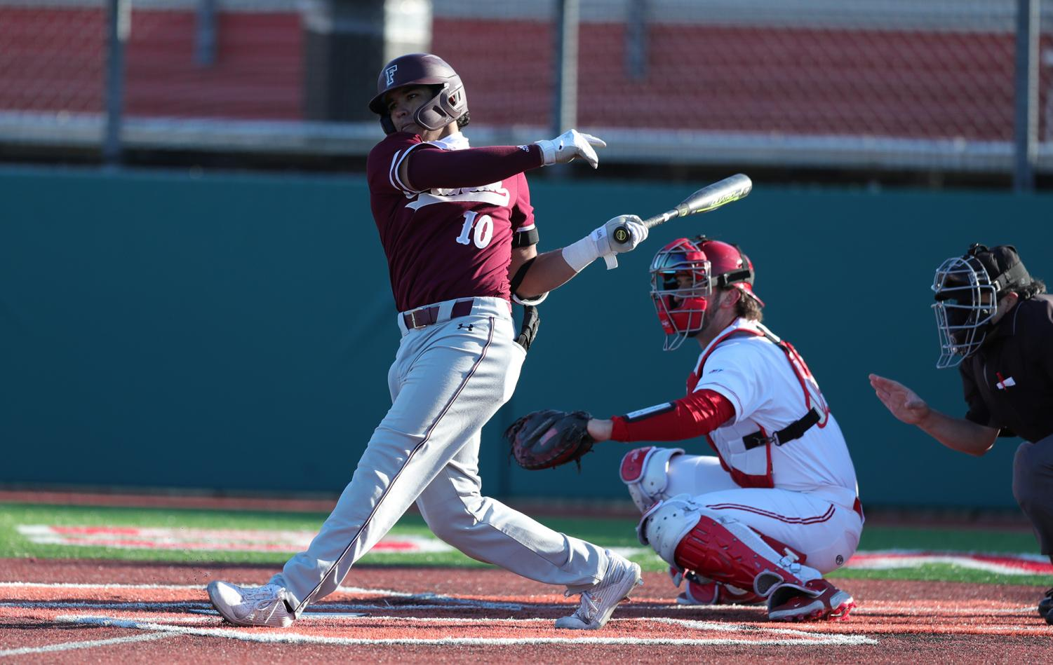 Fordham baseball player C.J. Vazquez up at bat