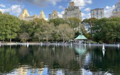 Small sailboats on a pond in central park