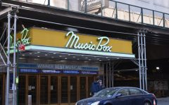 The entrance to the Broadway theatre called the Music Box Theatre