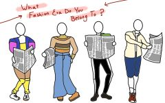 image of four people wearing an outfit from each fashion era between the 1980s and the 2010s, and each is holding a newspaper. text above their heads reads