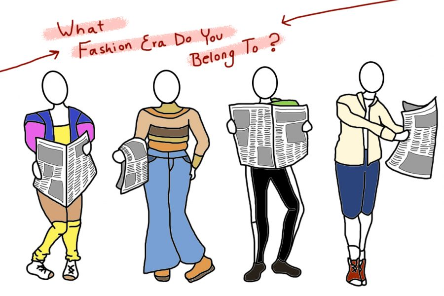 "image of four people wearing an outfit from each fashion era between the 1980s and the 2010s, and each is holding a newspaper. text above their heads reads ""what fashion era do you belong to?"""