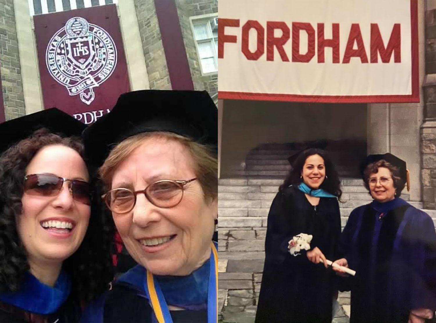 two photos of matilde fava with her daughters at their graduations